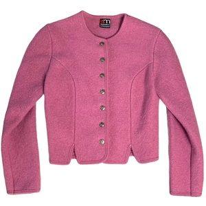 Vintage Giesswein Pink Wool Sweater Jacket S/M